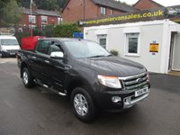 2014 FORD RANGER LIMITED EDITION 4X4 D/CAB, 2.2 TDCI, AUTO, 150 BHP, METALLIC BLACK, FULLY LOADED WITH EXTRAS, FULL LEATHER, FULL HISTORY, FINANCE AVAILABLE, PX WELCOME VISIT WEBSITE AT WWW.PREMIERVANSALES.CO.UK £15500.00
