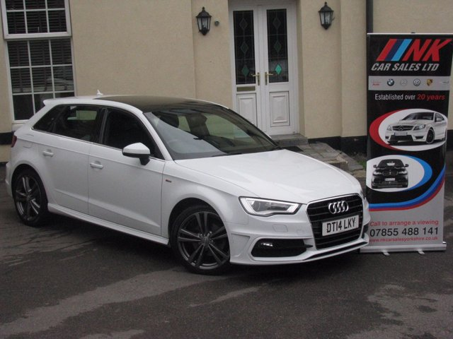 2014 14 AUDI A3 2.0 TDI S LINE 5d AUTO 148 BHP AUTO WITH PADDLE SHIFT BOX PAN ROOF FULL NAPPA LEATHER HEATED SEATS SOLD  SOLD