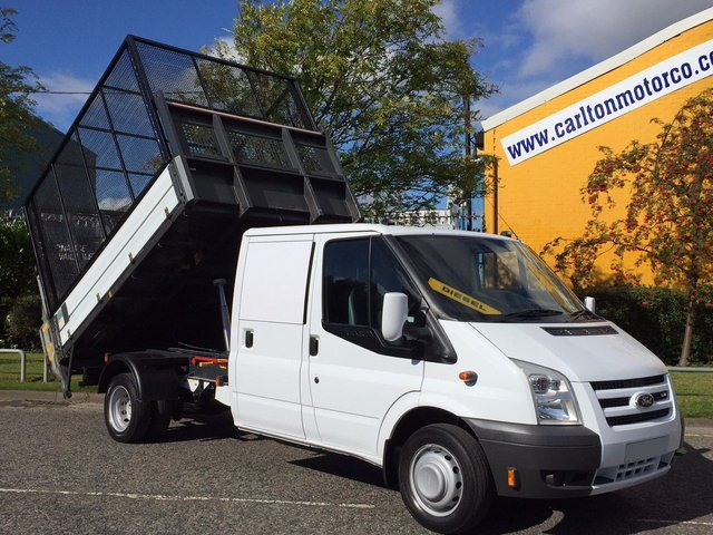 2009 59 FORD TRANSIT 100 T350L D/Cab Caged Tipper+T/Lift [ Low Mileage 44k ] Free UK Delivery