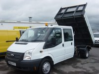 2013 FORD TRANSIT 2.2 350 DRW 1d 124 BHP DOUBLE CAB TIPPER ONLY 36000 MILES SOLD BUT MORE STOCK AVAILABLE. RING FOR MORE DETAILS £SOLD