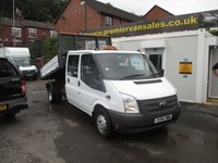 2014 FORD TRANSIT  DOUBLE CAB TIPPER, 125 BHP, ONLY 41,000 MILES ALLOY ONE STOP BODY  SIX SEATS  ONE OWNER  NEVER SEEN WORK LIKE NEW TIPPER   £SOLD