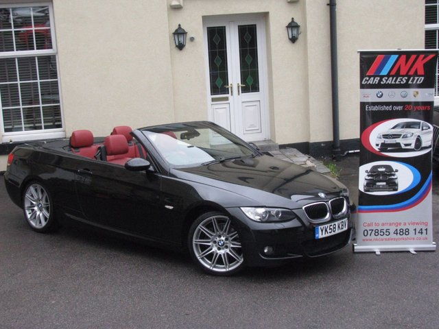 2008 58 BMW 3 SERIES 2.0 320D M SPORT 2d AUTO 174 BHP HARD TOP COVERTIBLE WITH RED LEATHERS  HEATED SEATS EXENONS ONLY DONE 71K RESERVED FOR MR JALIL