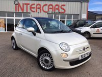 USED 2010 10 FIAT 500 1.2 LOUNGE 3d 69 BHP BLUETOOTH, ALLOY WHEELS, AIR CON, PANORAMIC GLASS ROOF