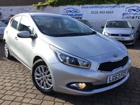 USED 2013 63 KIA CEED 1.4 CRDI 1 5d 89 BHP PLEASE VISIT OUR WEB SITE WWW.EDINBURGHCARSTORE.CO.UK FOR FULL HD VIDEO TO BOOK YOUR TEST DRIVE CALL US NOW ON 01314534363 AS ALWAYS ALL CARS FROM EDINBURGH CAR STORE COME WITH 1 YEARS FULL MOT ,1 FULL RAC INSPECTION SERVICE AND 6 MONTH RAC WARRANTY INCLUDING  12 MONTHS RAC BREAKDOWN RECOVERY FREE OF CHARGE!