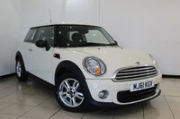 USED 2011 61 MINI HATCH ONE 1.6 ONE 3DR 98 BHP PEPPER PACK BLUETOOTH + 6 SPEED + CLIMATE CONTROL + UPHOLSTREY CLOTH + ALLOY WHEELS