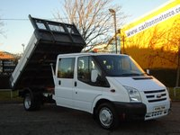 2009 FORD TRANSIT 140 T350L D/Cab Tipper Alloy Body Ex Council Low mileage Free UK Delivery DRW 6 SEATER £9950.00